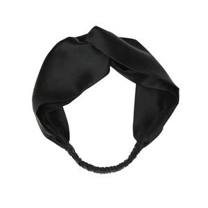 Accessories - Black 100% Silk Twisted Elastic Hair Headband